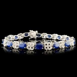 14K Gold 1405ct Sapphire 174ctw Diamond Bracel