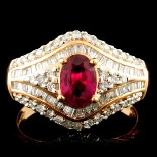 18K Gold 084ct Ruby 060ctw Diamond Ring