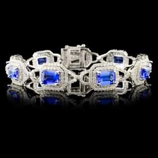 14K Gold 841ct Tanzanite 391ctw Diam Bracelet
