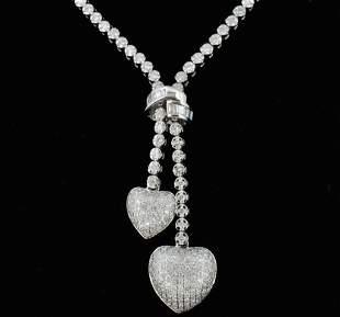 14K White Gold 282ct Lariat Style Diamond Neckla