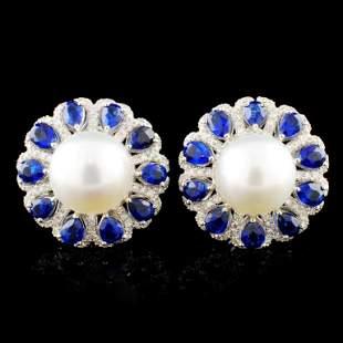 18K Gold 1100MM Pearl 065ctw Diamond Earrings