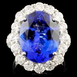 18K Gold 8.16ct Tanzanite & 2.63ctw Diamond Ring