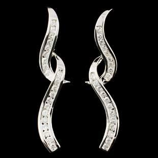 14K Gold 112ctw Diamond Earrings