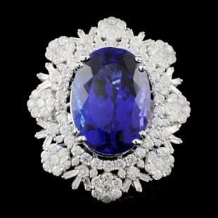 18K Gold 2315ct Tanzanite 474ctw Diamond Ring