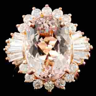 14K Gold 700ct Morganite 119ctw Diamond Ring