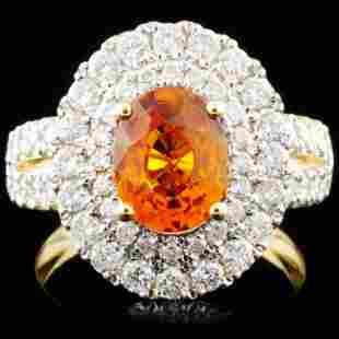 18K Gold 187ct Sapphire 116ctw Diamond Ring