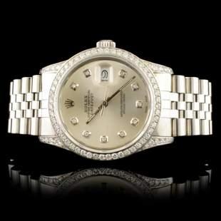 Rolex SS DateJust 150ctw Diamond 36MM Wristwatch