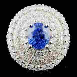 18K White Gold 271ct Sapphire 252ct Diamond Ri