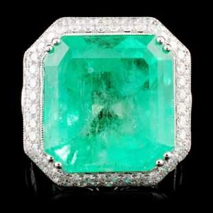 18K Gold 2383ct Emerald 398ctw Diamond Ring