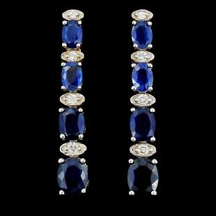 14K Gold 500ct Sapphire 035ctw Diamond Earring