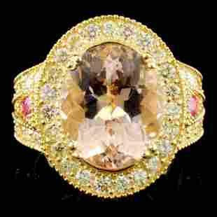 14K Gold 616ct Morganite 151ctw Diamond Ring