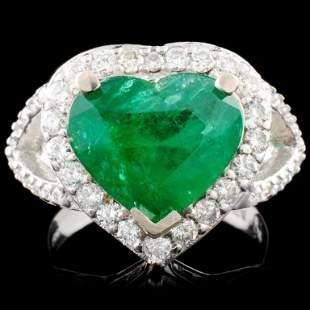 14K Gold 347ct Emerald 089ctw Diamond Ring