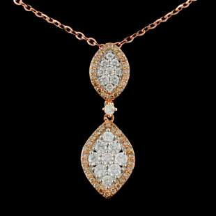 14K Rose Gold 129ctw Fancy Color Diamond Pendant