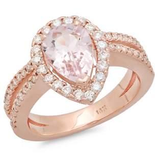 14K Gold 150ct Morganite 065ct Diamond Ring