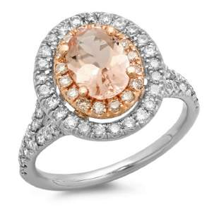 14K Gold 150ct Morganite 075ct Diamond Ring