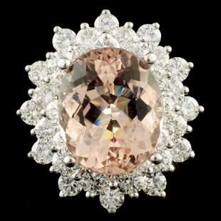 14K Gold 645ct Morganite 270ctw Diamond Ring