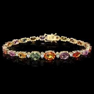 14k Gold 1500ct Sapphire 070ct Diamond Bracel