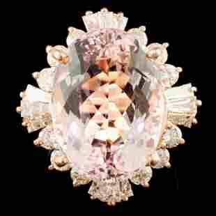 14K Gold 1510ct Morganite 218ctw Diamond Ring