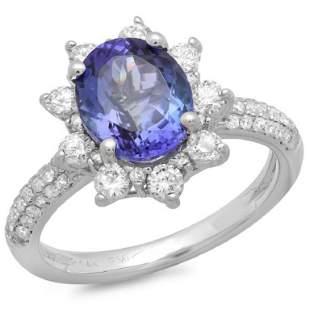 14K Gold 250ct Tanzanite 075ct Diamond Ring
