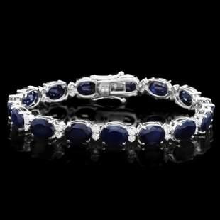 14k Gold 4000ct Sapphire 150ct Diamond Bracel