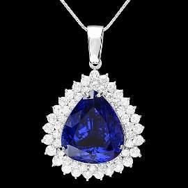 362: 14k Gold 22ct Tanzanite 2.70ct Diamond Pendant