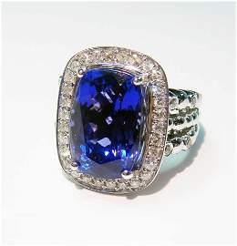 15: 18KT Gold, 10.13ct Tanzanite & 0.50ctw Diamond Ring