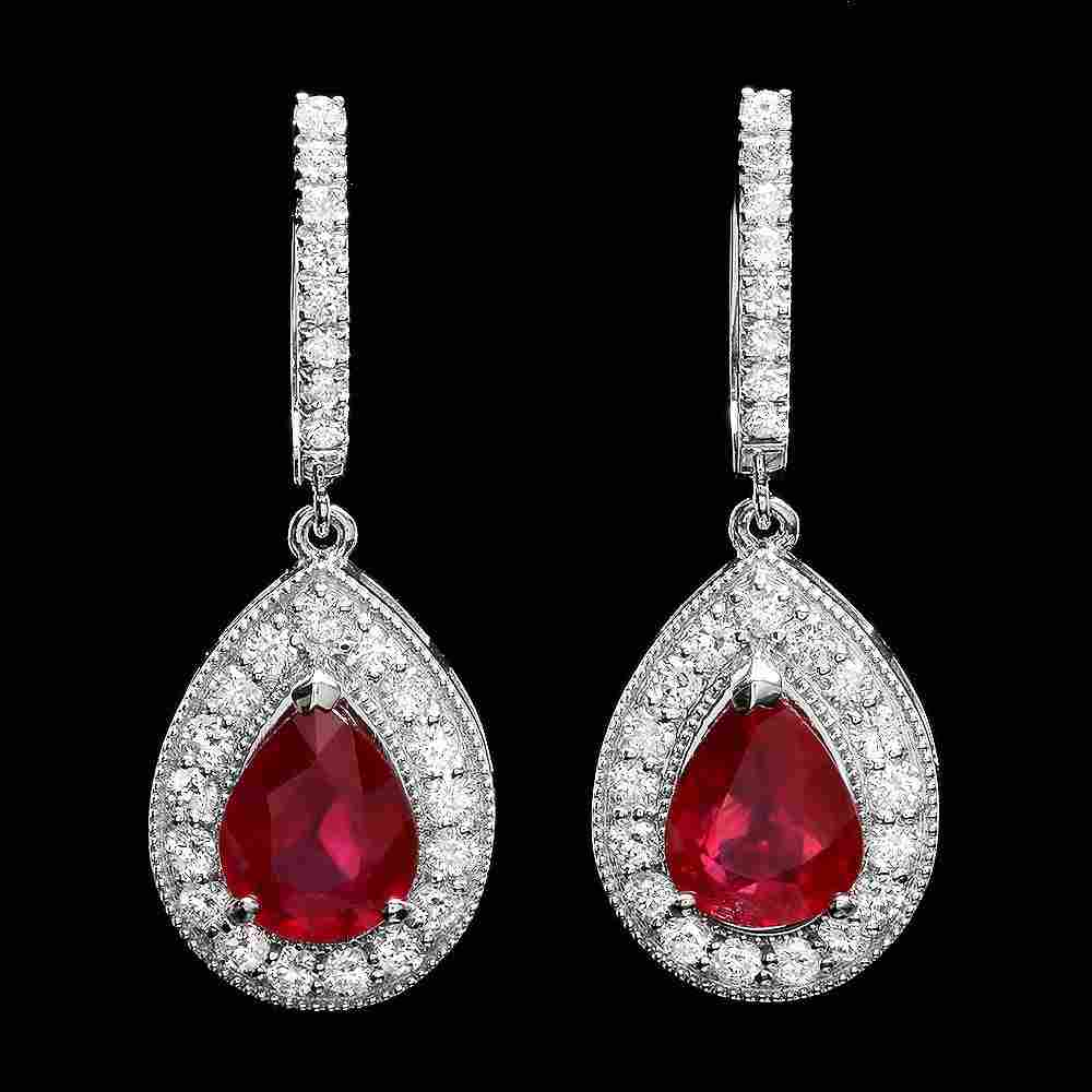 54B: 14k Gold 6.50ct Ruby 1.70ct Diamond Earrings