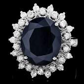 213B 14k Gold 7ct Sapphire 075ct Diamond Ring