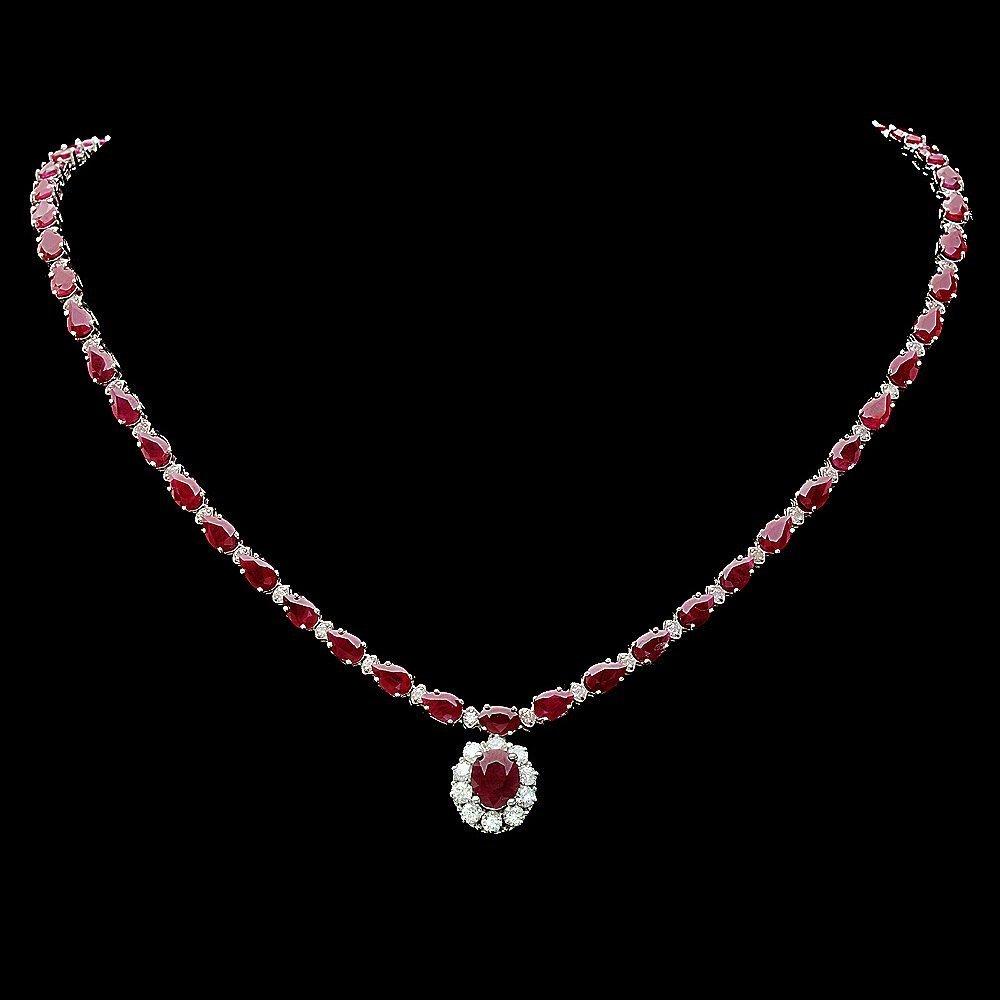233B: 14k White Gold 32ct Ruby 2.50ct Diamond Necklace