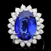 271B 14k Gold 11ct Tanzanite 230ct Diamond Ring