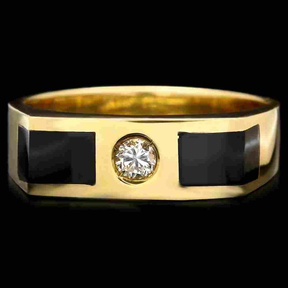 340B: 18k Gold 0.15ct Diamond 2ct Onyx Mens Ring