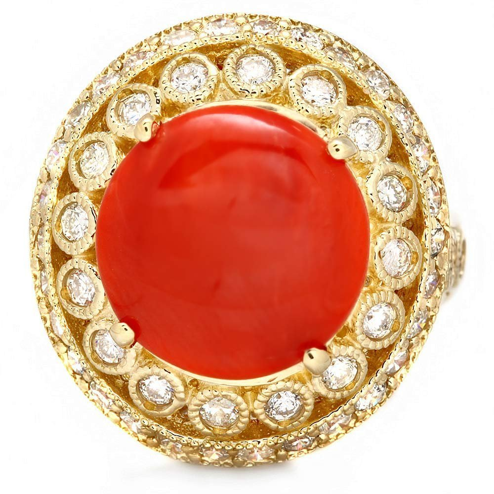 2: 14k Yellow Gold 4.00ct Coral 1.30ct Diamond Ring