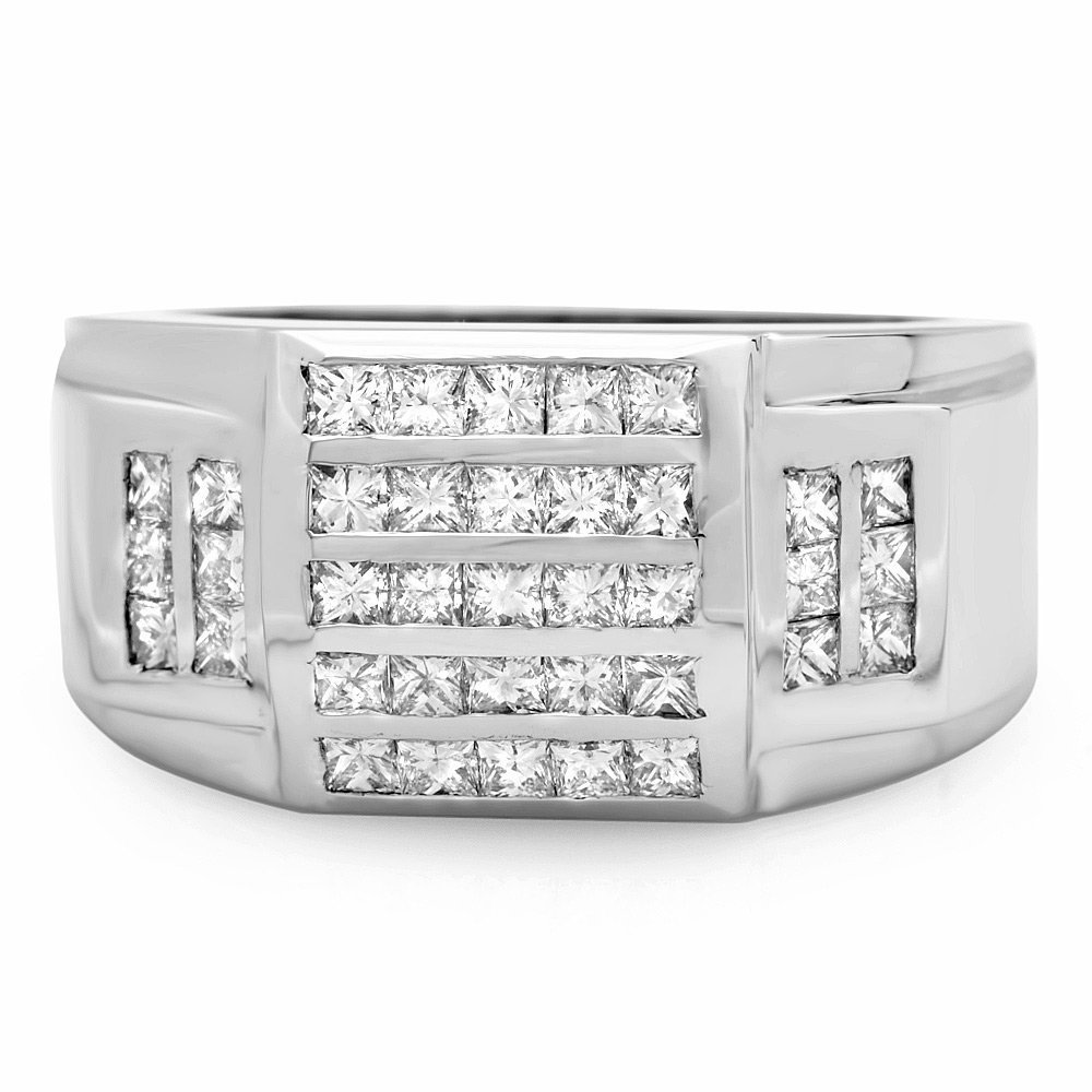 3A: 14k White Gold 1.65ct Diamond Mens Ring