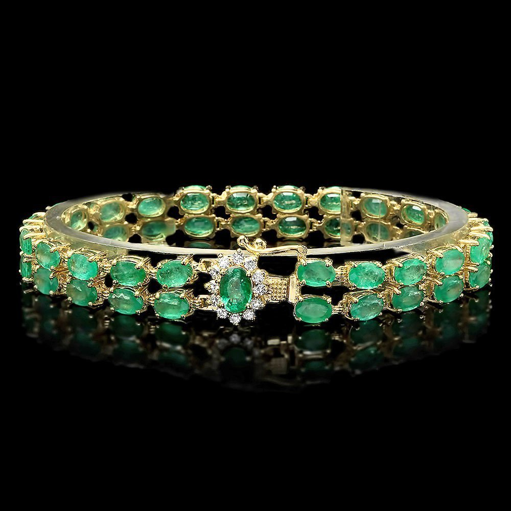 4A: 14k Gold 18ct Emerald 0.40ct Diamond Bracelet