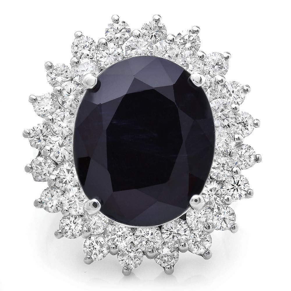 14KT White Gold 11.50ct Sapphire 2.50ct Diamond Ring
