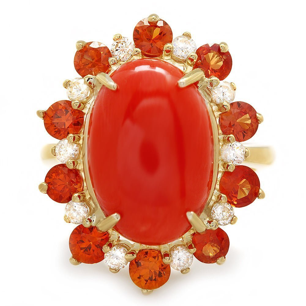3B: 14k Yellow Gold 8.00ct Coral 0.40ct Diamond Ring