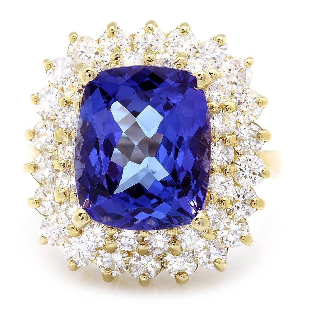 2C: 14k Gold 7ct Tanzanite 2.50ct Diamond Ring