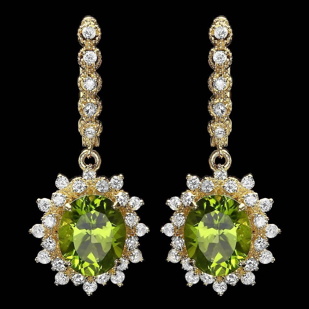 3C: 14k Gold 7.70ct Peridot 1.50ct Diamond Earrings