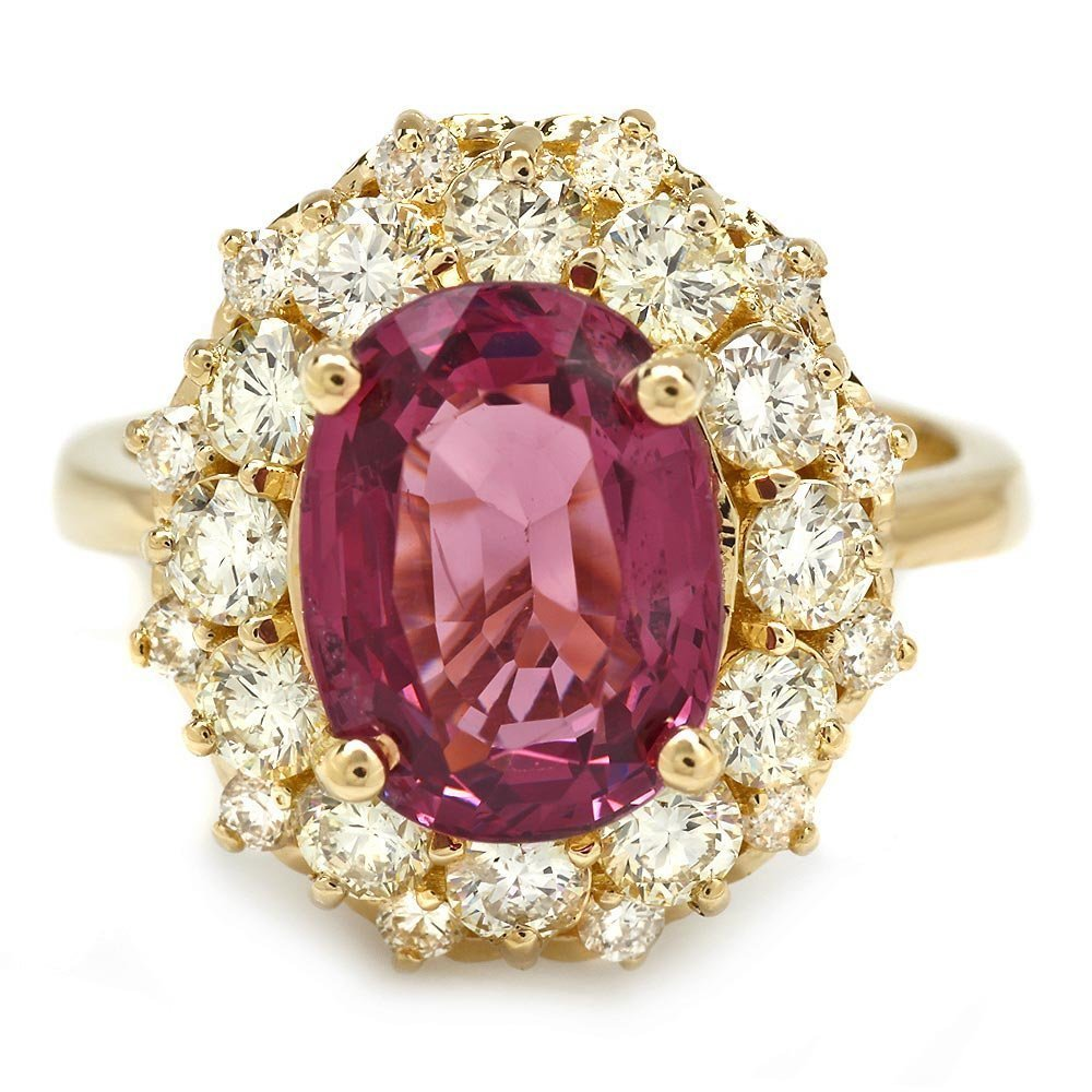 5B: 14k Yellow Gold 4.00ct Spinel 1.60ct Diamond Ring