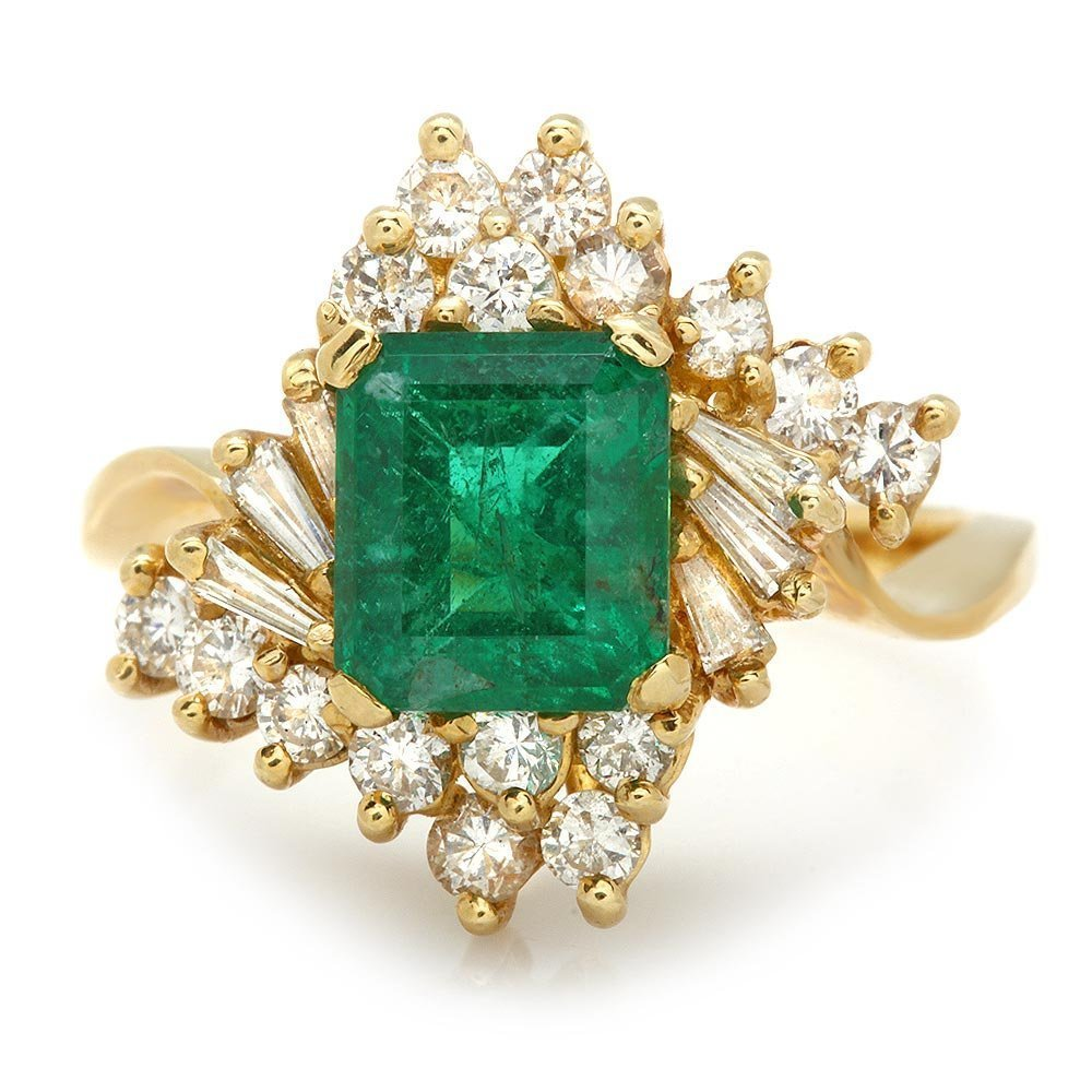 5C: 14k Yellow Gold 2.00ct Emerald 1.9ct Diamond Ring