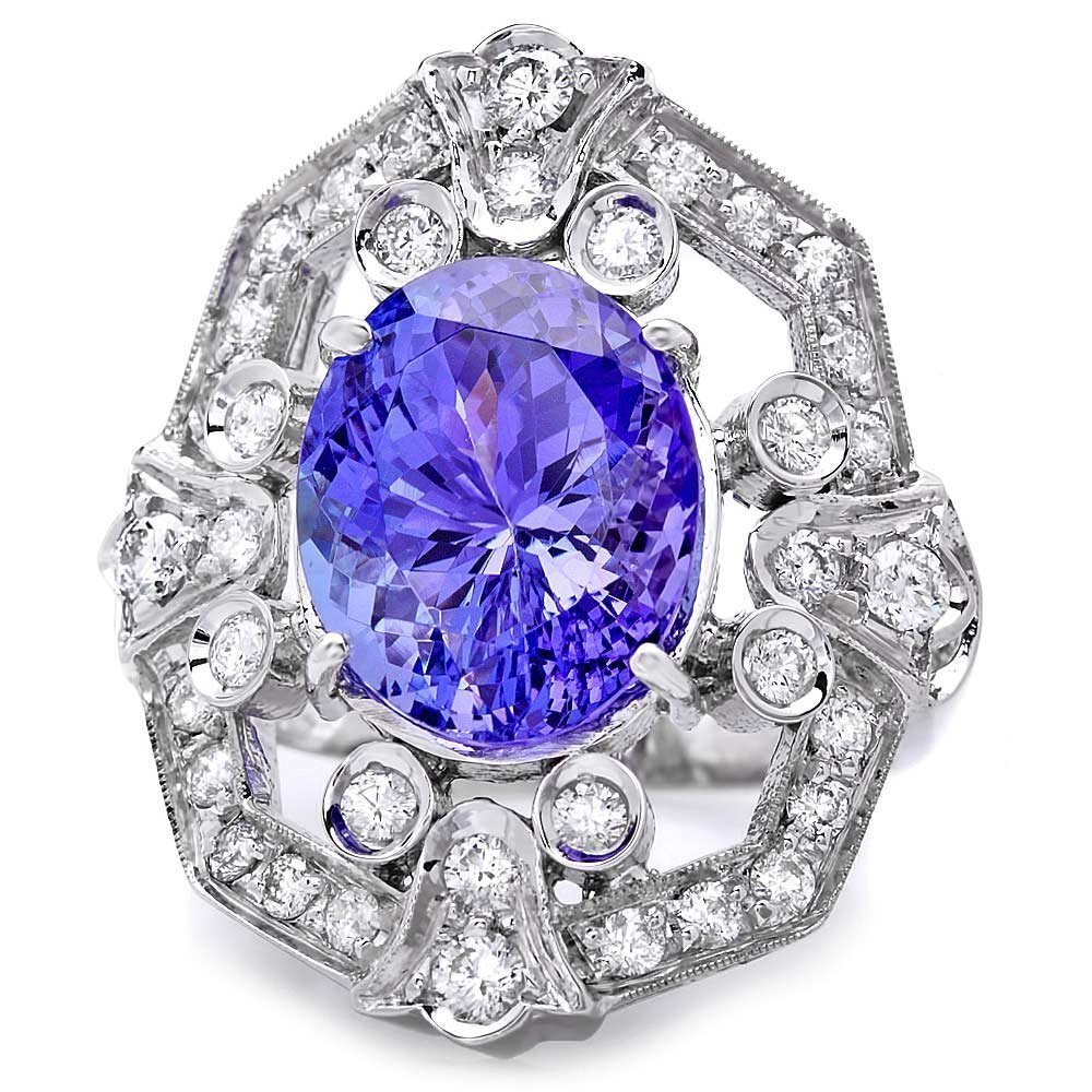 6B: 14k Gold 7.50ct Tanzanite 1.10ct Diamond Ring