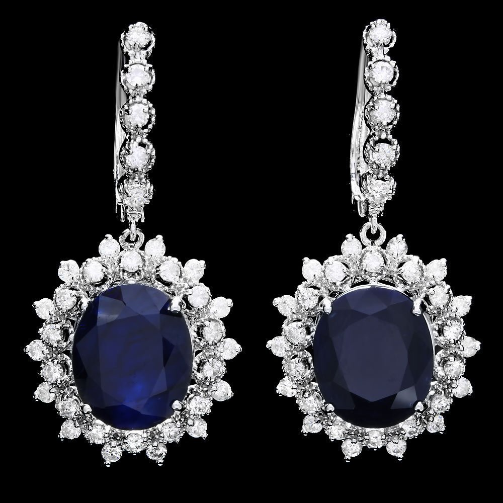 6C: 14k Gold 13ct Sapphire 1.85ct Diamond Earrings