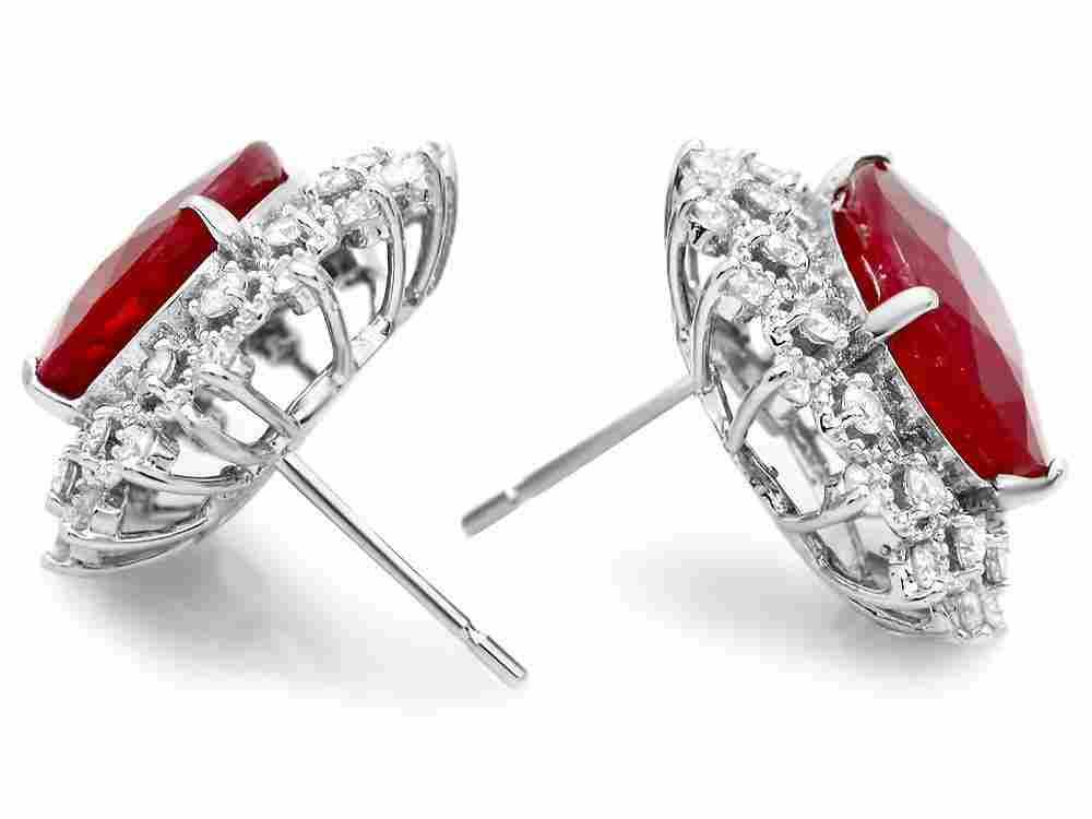 54B: 14k Gold 14ct Ruby 1.50ct Diamond Earrings