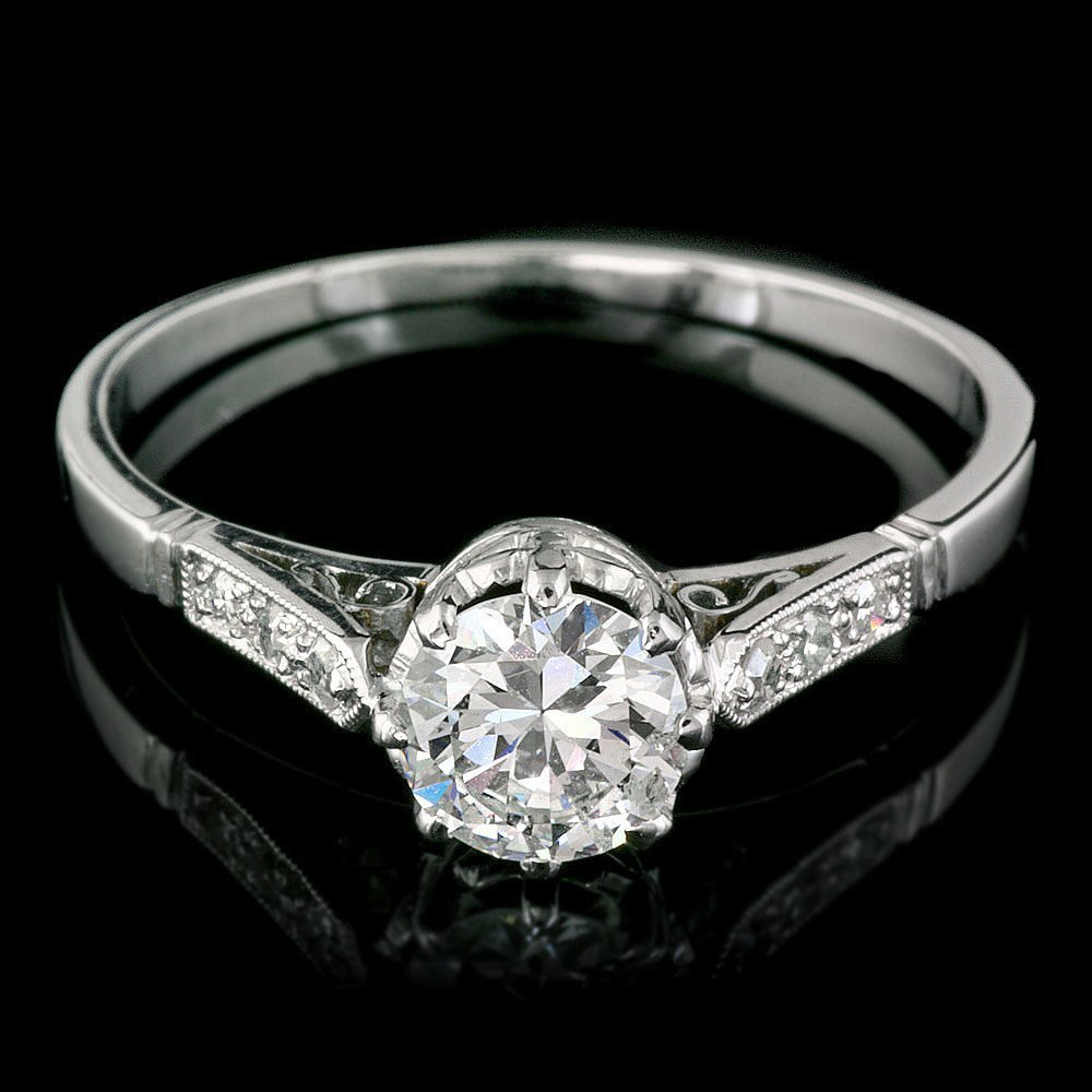 58A: Antique Solid Platinum 1.03ct Diamond Ring