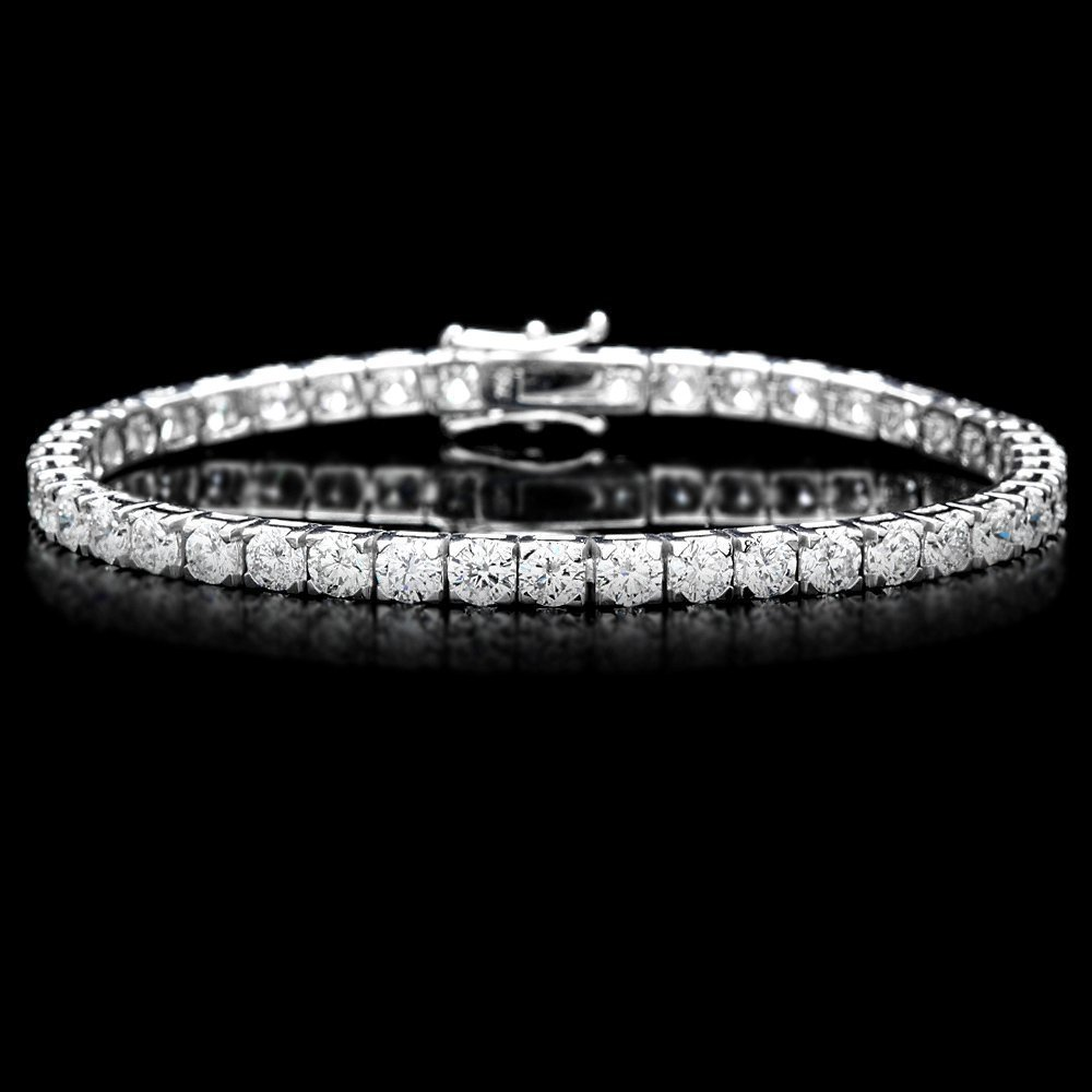114B: 18k White Gold 9.50ct Diamond Tennis Bracelet