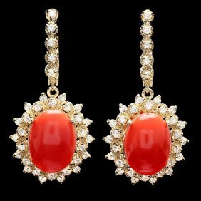 4: 14k Gold 10.50ct Coral 2ct Diamond Earrings