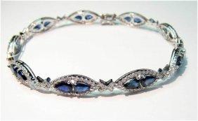 14KT Gold, 8.62ct Sapphire & 1.87ct Diamond Bracele