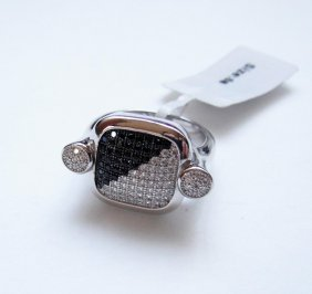 925 Sterling Silver, Black and White CZ Ring
