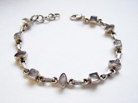 925 Sterling Silver, Moonstone Gemstone Bracelet