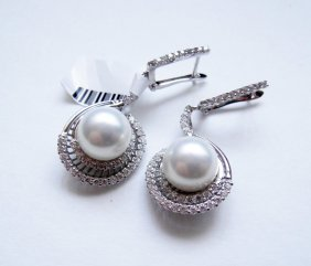 925 Sterling Silver, Pearl and CZ Dangle Earrings
